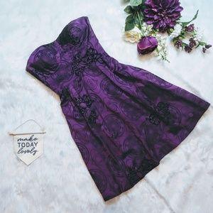 Guess Strapless Purple Brocade Dress